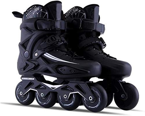 THMY Inline-Skates für Erwachsene Einreihige Rollschuhe Professionelle Eisschnelllaufschuhe Anfänger im Freien Sport für Herren und Damen Rollerblades, Schwarz, 43 EU / 10 US / 9 UK / 26,5 cm JP