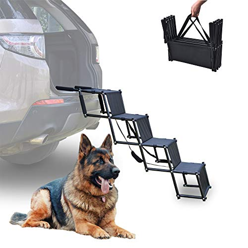 Alsanda Hundetreppe Hunderampe Klappbar für Auto | Einstiegshilfe Kofferraumeinstieg | Gelenkschonend | Tragbar | Faltbar | Hundeleiter für Ihr Hund und Haustier mit 4 Stufen