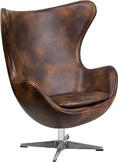 Emma + Oliver Bomber Jacket Leather Swivel Egg Chair with Tilt-Lock Mechanism
