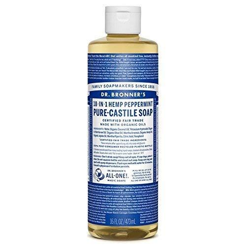 Dr. Bronner's Dr. Bronners Magic Soap Organic Peppermint Oil Pure Castile Soap Liquid, 16 ounces