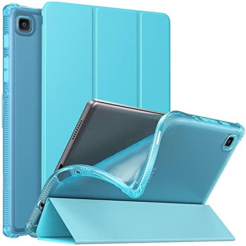 MoKo Funda Compatible con Samsung Galaxy Tab A7 Lite 8.7-Inch 2021 Tableta(SM-T225/SM-T220), Cubierta Protectora Plegable Delgada TPU Trasera Transparente con Soporte Triple, Pavo Real Azul