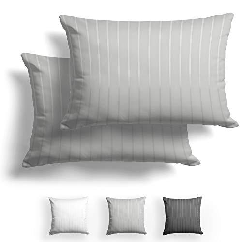 Alreya Mako Juego de 2 fundas de almohada de raso, 50 x 75 cm, con rayas grises, 100% algodón, con cremallera YKK, muy suave, incluye solo funda