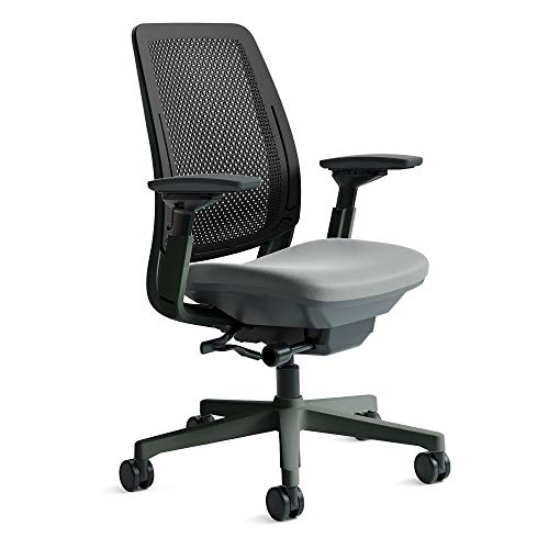 Amia Air Task Chair by Steelcase | Black Frame and Back, with Buzz 2 Seat | 4-Way Adjustable Arms and Carpet Casters (Alpine)