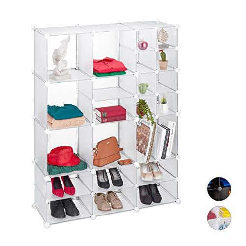 Relaxdays reksysteem 23 vakken, groot, open DIY insteekkast, kunststof, scheidingswand HBT 147 x 111 x 37 cm, transparant, 1 stuk