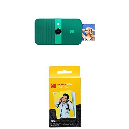 KODAK Smile Cámara Digital de impresión instantánea, Verde + Paquete de 50 Hojas