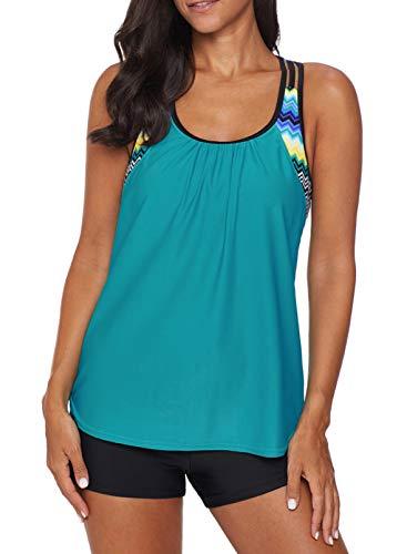 Dearlove Women's Blouson Striped T-Back Push Up Tankini Top Halter Padded Slimming Swimsuit Sporty Swimwear Green Plus Size XL 14 16
