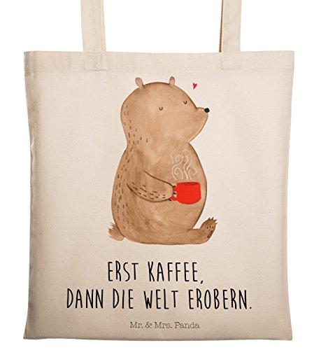 Mr. & Mrs. Panda Einkaufstasche, Baumwolltasche, Tragetasche Bär Kaffee mit Spruch - Farbe Transparent