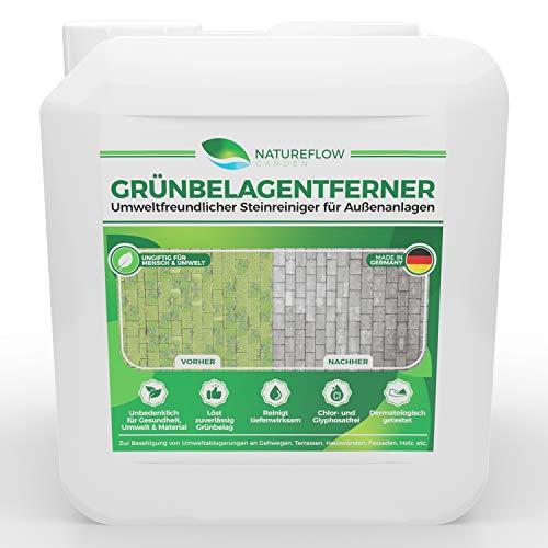Natureflow Grünbelagentferner für die effektive Entfernung von Moos - Ungiftiger und Umweltfreundlicher Steinreiniger für Außenanlagen - Frei von Glyphosat - Made in Germany - 5L Außenanlagenreiniger