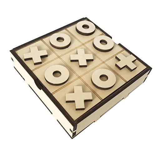 Hinder Juego de mesa hecho a mano de madera Tic Tac Toe XO divertido juego para niños de 7 años en adelante – Gran regalo para niños para todas las ocasiones
