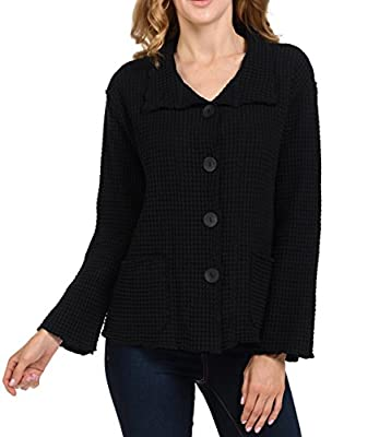 Focus Fashion Women's Cotton Big Waffle All Seasons Jacket (X-Large, Black) by