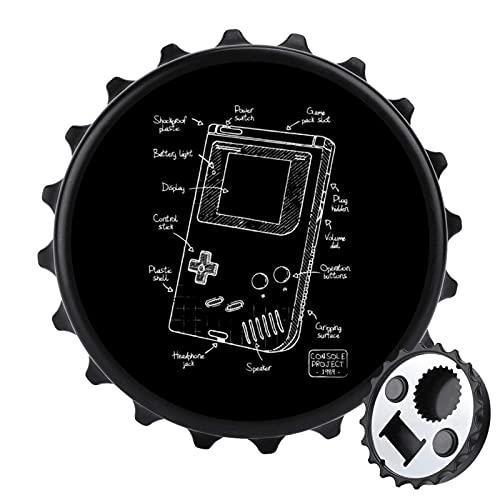 Gameboy Blueprint - Abrebotellas con imán trasero para nevera, forma creativa de tapa de botella, fácil de abrir el esfuerzo de botella.
