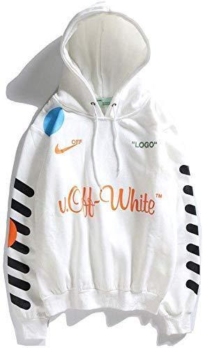 CVDEKH Sudadera con Capucha Ropa de Calle Off OW Logo Invierno otoño Moda Casual Sudaderas para Hombres/Mujeres,Blanco,M