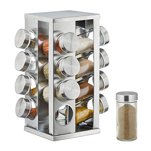 Relaxdays Gewürzkarussell mit 16 Gewürzdosen, 360° drehbar, durchsichtige Gewürzgläser zum Streuen, Edelstahl, silber