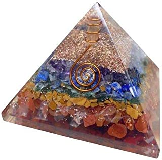 Spiritual Elementz Reiki Charged Chakra Healing 7 Chakra Orgone Pyramid (3 Inch) with Clear Crystal Gemstone Copper Metal (Seven Layers of Aura)