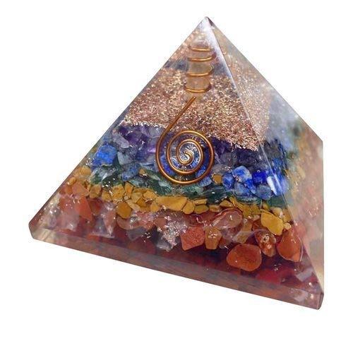 Spiritual Elementz Reiki Charged Chakra Healing 7 Chakra Orgon Pyramide (7,6 cm) mit klarem Kristall Edelstein Kupfer Metall (sieben Schichten von Aura)