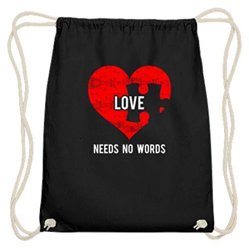 Género y genial amor no necesita palabras puzzle corazón amor autismo confianza socio – algodón Gymsac, color Negro, tamaño 37cm 46cm