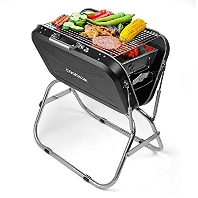 Portable Charcoal BBQ Grill, COWEKAI Stainless Steel Folding Charcoal Barbecue Grill -23x 17 x 26 inch - Durable Tabletop Barbecue Smokers Tool Kits for Outdoor Picnic Patio Backyard Camping Cooking
