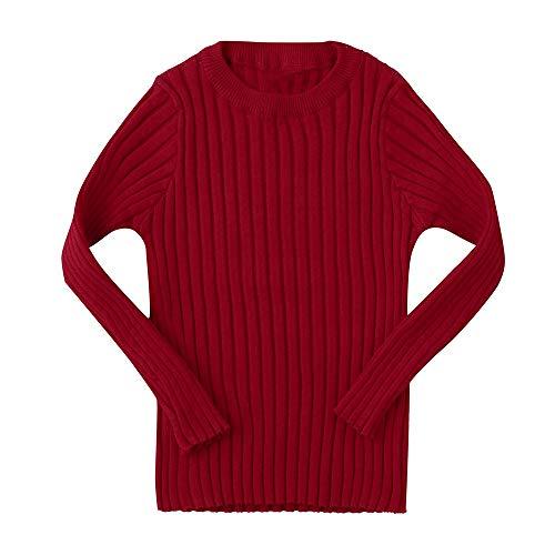 Kobay Kobay Baby Jungen Mädchen Kinder Rippenstrickpullover Weiche Warme Pullover Pullover(6-12M,Rot)