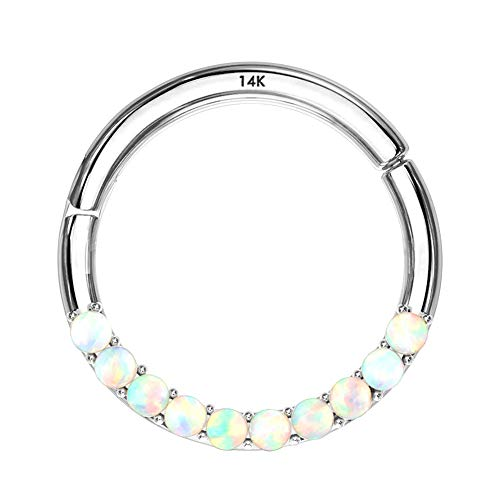 Jewseen 14K White Gold Opal Lined Set Hinged Segment Hoop Rings 16g Septum Clicker Nose Rings Daith Trgaus Helix Earring Body Piercing