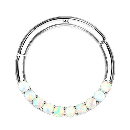 OUFER 16G 14K Gold Hinged Segment Hoop Rings Opal Lined Set Septum Clicker Nose Rings Daith Trgaus Helix Earring Body Piercing White