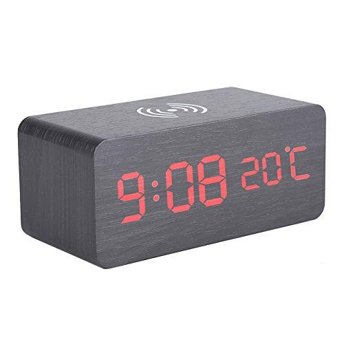 zcyg Reloj despertador, reloj despertador digital LED de madera, control de voz, cargador inalámbrico de temperatura para teléfono (negro)