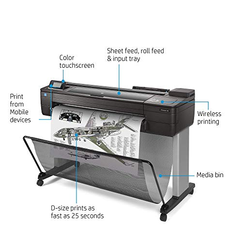 HP DesignJet T730 Large Format Wireless Plotter Printer - 36', with Security Features (F9A29A)