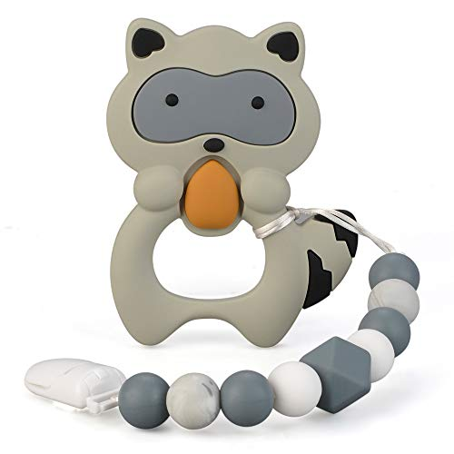 Baby Teething Toys for Babies 3-18Months BPA Free Silicone Teethers for Babies with Pacifier Clip Cute and Effective Pain Relief Raccoo for Stylish Boy or Girl Christmas Gift