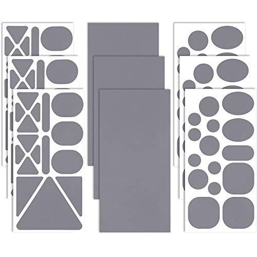 9 Hojas Parches Autoadhesivos de Reparación de Nylón Parche de Ropa Tela de Diferentes Tamaños y Formas para Reparación de Chaquetas, Ropa, Tienda, Bolsos y Abrigo (Gris Oscuro)