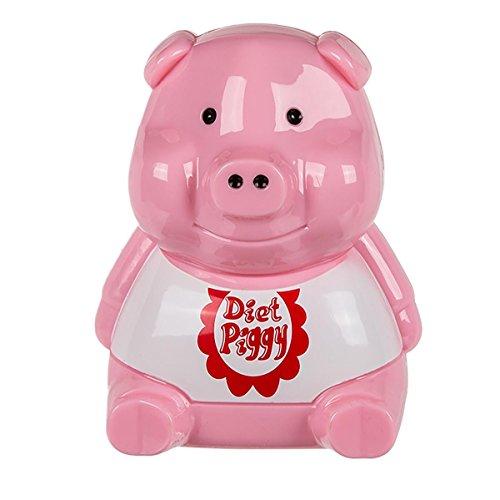 ootb Kunststoff-Diätschweinchen für den Kühlschrank mit Lichtsensor und Sound, Rosa, 7.5 x 8.9 x 11 cm