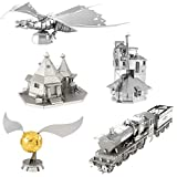 fascinations Metal Earth 3D Metal Model Kits - Harry Potter Set of 5 - The Burrow - Hogwarts Express Train - Hagrid's Hut - Golden Snitch - Gringotts Dragon