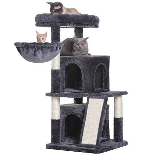 Hey-bro 41.34 inches Cat Tree with Scratching Board, 2 Luxury Condos, Cat Tower with Padded Plush Perch and Cozy Basket, Smoky gray MPJ004G