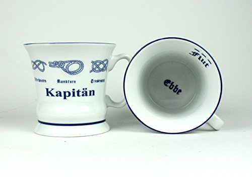 Buddel-Bini Kapitän Pott mit Seemannsknoten hoch Becher Tasse Kaffeebecher Teepott