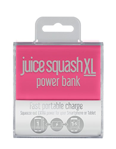 Juice Squash XL Fast Charge Mini Portable Power Bank iPhone, Samsung, Huawei, iPad, 5600mAh, Pink