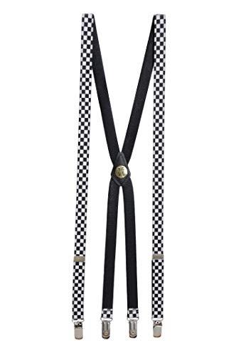 Skinny Trouser Braces (Black/White Check)