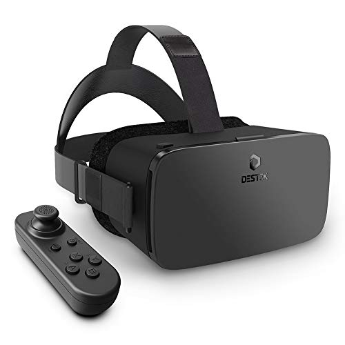 DESTEK 2020 Updated V5 VR Brille, 110°FOV, Anti-Blaulicht HD Virtual Reality mit Bluetooth Fernbedienung für iPhone 12/11/X/Xs/Max/8P/7P/8/7, Samsung S10/S9/S8/Note 10/9/8/Plus, 4,7-6,8 Zoll