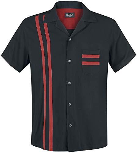 Chet Rock Lucky Stripe Bowling Shirt Männer Kurzarmhemd schwarz/rot S