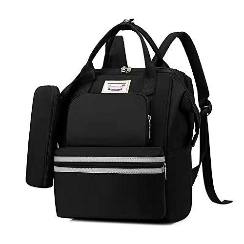 Bolsa de pañales para bebé para mamá y papá, bolsa de pañales de maternidad con puerto de carga y correas para cochecito, bolsillos térmicos (color negro)