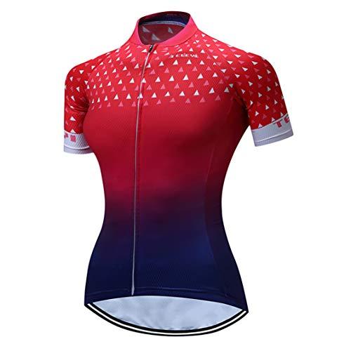 Shenshan Radtrikot Damenrad MTB Trikot Reißverschluss Kurzarm Fahrradhemden atmungsaktiv Mountain Road Tops Sommerkleidung Reitsport Rennoberteil für Damen Größe S
