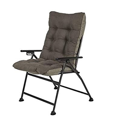 Sunon Folding Camping Chair, Adjustable 5-Position Reclining Mesh Back Lounge Chair with Detachable Cotton Pad for Outdoor,Lawn,Garden and Home, Support 300 lbs (Olive, 30.7x26.7x42.5 inch)