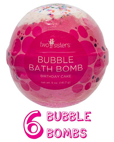6 Birthday Cake Bubble Bath Bombs by Two Sisters Spa. 6-5oz Large 99% Natural Fizzies For Women,...