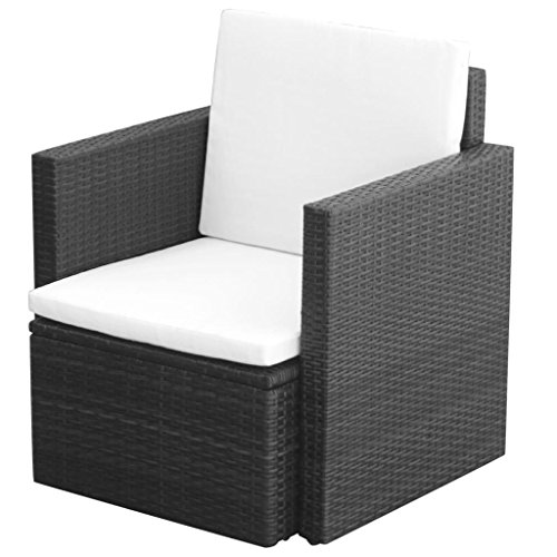 Festnight Gartensessel Relaxsessel Modern Design Lounge Sessel Poly Rattan 65 x 65 x73 cm Braun/Schwarz