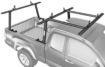 AA-Racks Model APX25-E Aluminum Pickup Truck Ladder Rack w/Cantilever Extension - Sandy Black