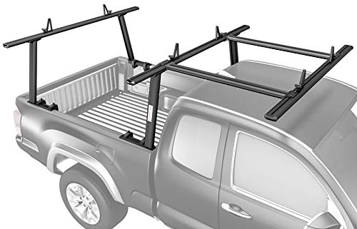 AA-Racks Model APX25-E Aluminum Pickup Truck Ladder Rack w/Cantilever Extension - Sandy Black (2 Packages)
