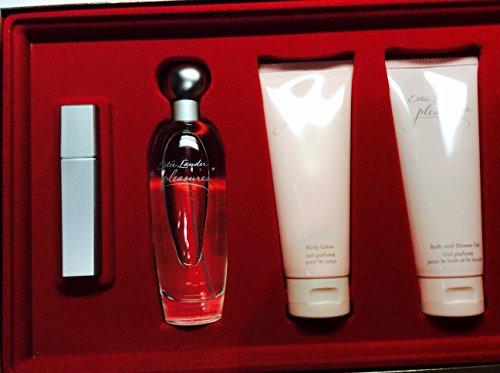 Pleasures By Estee Lauder for Women 4 Piece Set: 3.4 Oz Eau De Parfum Spray   3.4 Oz Body Lotion   3.4 Oz Shower Gel   4ml Parfum Atomizer