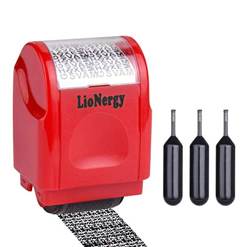 Identity Protection Roller Stamp LioNergy Wide Roller Identity Theft Prevention Security Stamp (Red Roller Stamp with 3 Refills)