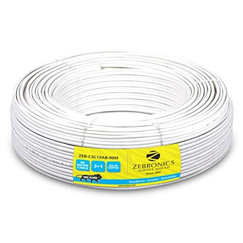 Zebronics ZEB-C3C1XAB-90M CCTV Cable with 3+1 Solid Copper...