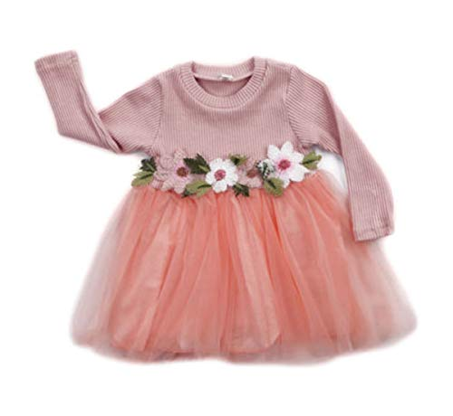 Toddler Kids Baby Girls Knitted Tulle Cap Tutu Dresses Jersey Dress Outfit (9-18months, Pink)