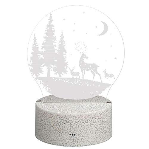 ABOOFAN Navidad 3D noche lámpara LED cabecera patrón alce para Navidad fiesta favores sin batería