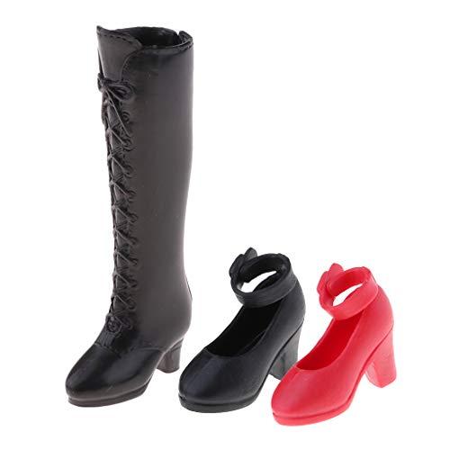 perfeclan Zapatos De Mueca Y Bota hasta La Rodilla para Disfraz De Accesorios De Muecas Blythe 1/6