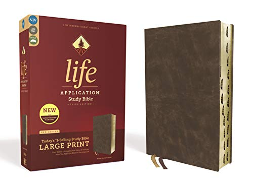 NIV, Life Application Study Bible, Third Edition, Large Print, Bonded Leather, Brown, Red Letter, Thumb Indexed